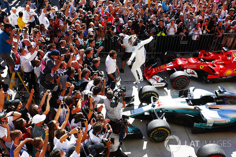 3. Lewis Hamilton, Mercedes AMG F1 W08, jumps from his car in Parc Ferme after winning the race