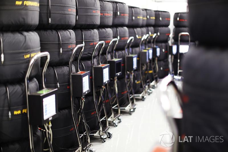 Pilas de neumáticos Pirelli con calentadores
