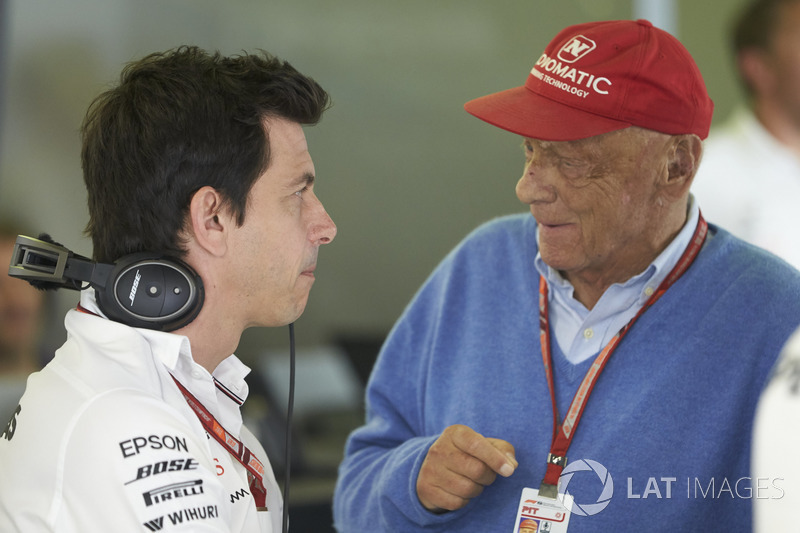 Toto Wolff, Executive Director (Business), Mercedes AMG, Niki Lauda, Non-Executive Chairman, Mercedes AMG