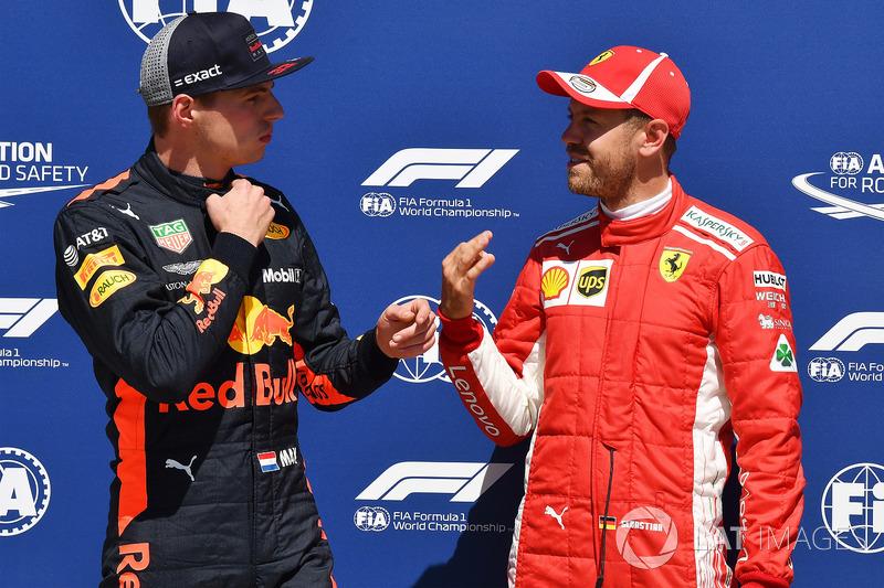 Max Verstappen, Red Bull Racing and Sebastian Vettel, Ferrari in parc ferme