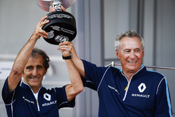 Alain Prost and Jean Paul Driot of eDAMs celebrate with their trophy on the podium
