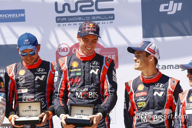 1. Thierry Neuville, Nicolas Gilsoul, Hyundai Motorsport; 3. Dani Sordo, Marc Marti, Hyundai Motorsport