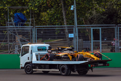 The crashed car of Jolyon Palmer, Renault Sport F1 Team RS17 is recovered in FP2