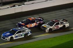 Dale Earnhardt Jr., Hendrick Motorsports Chevrolet, leads Denny Hamlin, Joe Gibbs Racing Toyota, and Ryan Newman, Richard Childress Racing Chevrolet