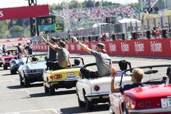 Fernando Alonso, McLaren, Stoffel Vandoorne, McLaren, in the drivers parade
