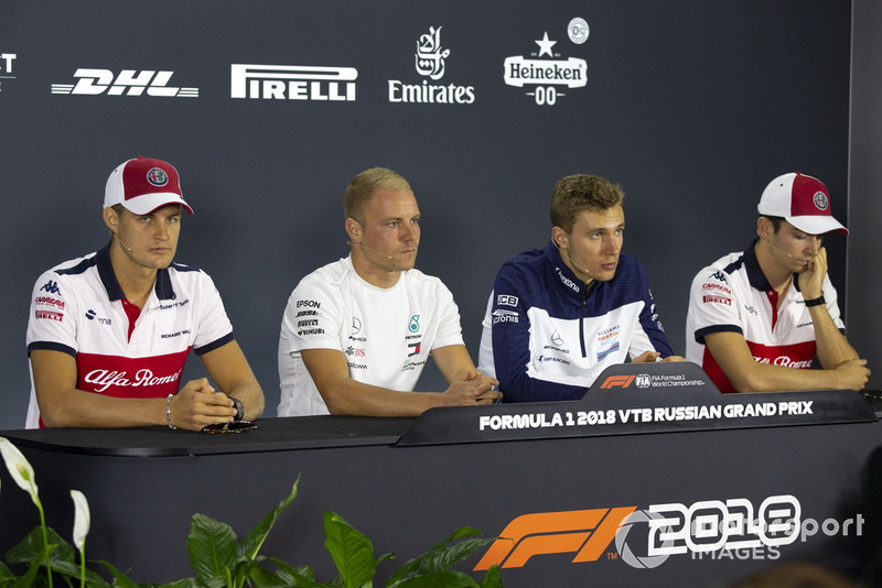 Marcus Ericsson, Sauber, Valtteri Bottas, Mercedes AMG F1, Sergey Sirotkin, Williams Racing and Charles Leclerc, Sauber in press conference