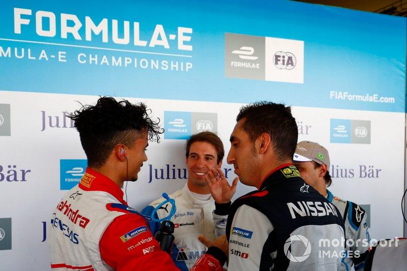 Antonio Felix da Costa , BMW I Andretti Motorsports, Sébastien Buemi , Nissan e.Dams and Felipe Massa , Venturi Formula E, congratulate Pascal Wehrlein , Mahindra Racing, afte he took Pole Position