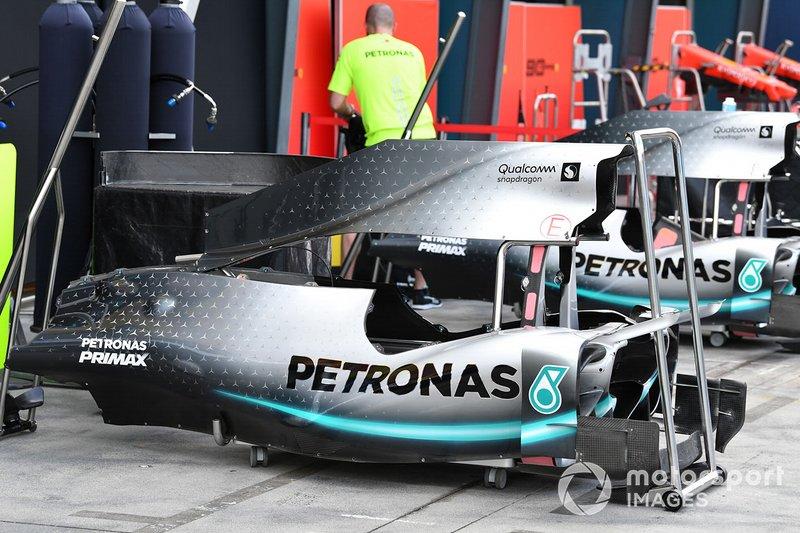 Mercedes AMG F1 W10 bodywork in the pit lane