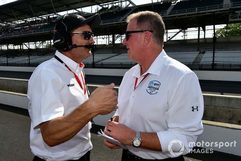 One of Frye's best attributes is regularly consulting with IndyCar team principals and paying heed to their thoughts, hopes and fears. Here he chats with Team Penske president Tim Cindric on pitlane at IMS.