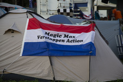 Max Verstappen, Red Bull Racing fans banner on tent on the campsite