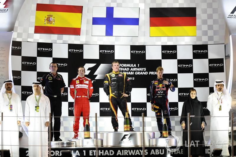 Podio: Ganador de la carrera Kimi Raikkonen, Lotus F1, segundo lugar Fernando Alonso, Ferrari, tercer lugar Sebastian Vettel, Red Bull Racing, Eric Boullier, director Lotus F1 Team