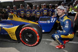 Alexander Rossi, Andretti Autosport Honda fête sa pole position