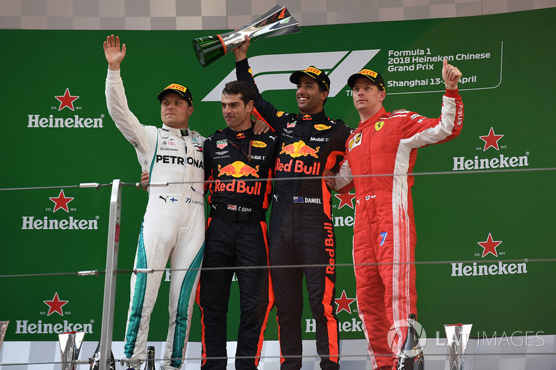 Podium : Race winner Daniel Ricciardo, Red Bull Racing, second place Valtteri Bottas, Mercedes-AMG F1, third place Kimi Raikkonen, Ferrari