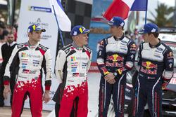 Podium: second place Ott Tänak, Martin Järveoja, Toyota Gazoo Racing WRT Toyota Yaris WRC, Winners Sébastien Ogier, Julien Ingrassia, M-Sport Ford WRT Ford Fiesta WRC