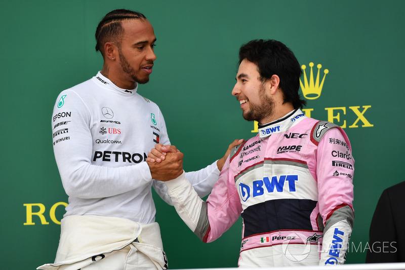 Ganador, Lewis Hamilton, Mercedes-AMG F1 y Sergio Perez, Force India