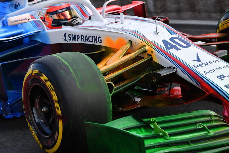Robert Kubica, Williams FW41 con parafina aerodinámica en la suspensión delantera y ala delantera