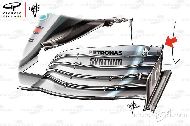 Mercedes-AMG F1 W10, dettaglio dell''ala anteriore