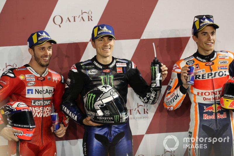Топ-3 після кваліфікації: друге місце Андреа Довіціозо, Ducati Team, володар поул-позиції Маверік Віньялес, Yamaha Factory Racing, третє місце Марк Маркес, Repsol Honda Team