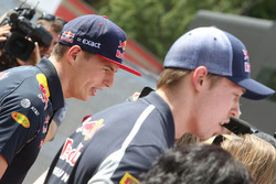 (L to R): Max Verstappen, Red Bull Racing and Daniil Kvyat, Scuderia Toro Rosso with the media
