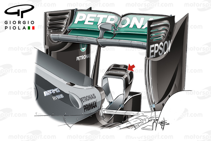 Mercedes W07 rear wing, Barcelona, captioned