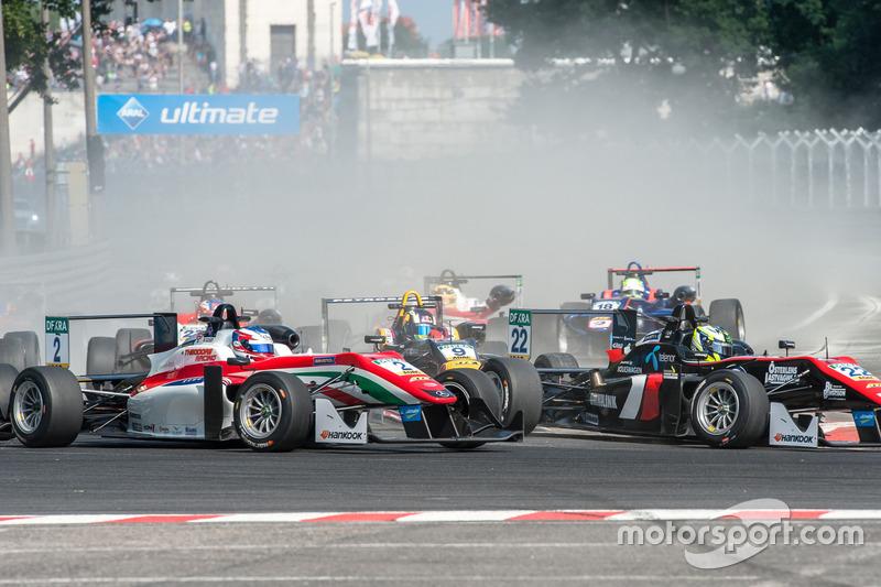 start, Nick Cassidy, Prema Powerteam Dallara F312 - Mercedes-Benz, Joel Eriksson, Motopark Dallara F312 - Volkswagen