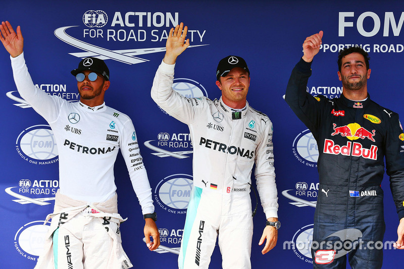 Polesitter Nico Rosberg, Mercedes AMG F1, 2. Platz Lewis Hamilton, Mercedes AMG F1, 3. Platz Daniel Ricciardo, Red Bull Racing