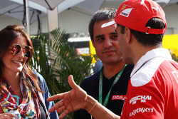 Juan Pablo Montoya, with his wife Connie Montoya, and Marc Gene, Ferrari Test Driver