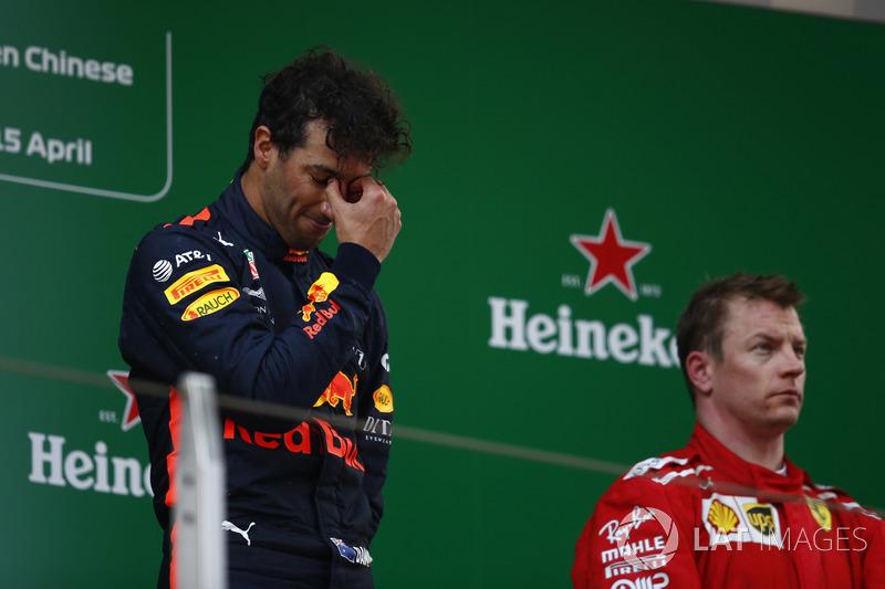 Podium: race winner Daniel Ricciardo, Red Bull Racing, third place Kimi Raikkonen, Ferrari