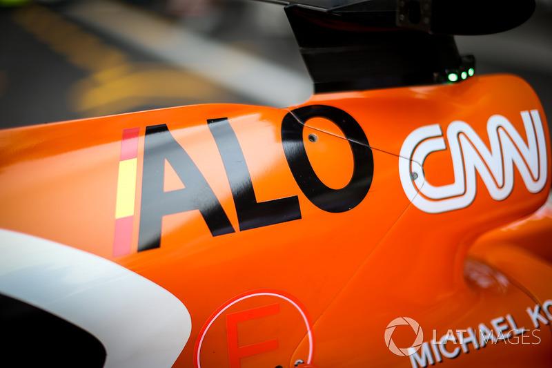 The bodywork detail of Fernando Alonso, McLaren MCL32