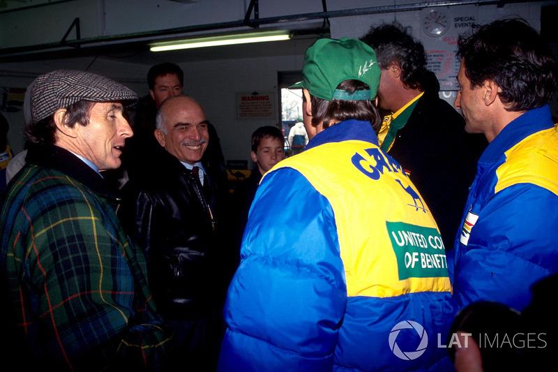Jackie Stewart, Michael Schumacher, ve Riccardo Patrese, Benetton