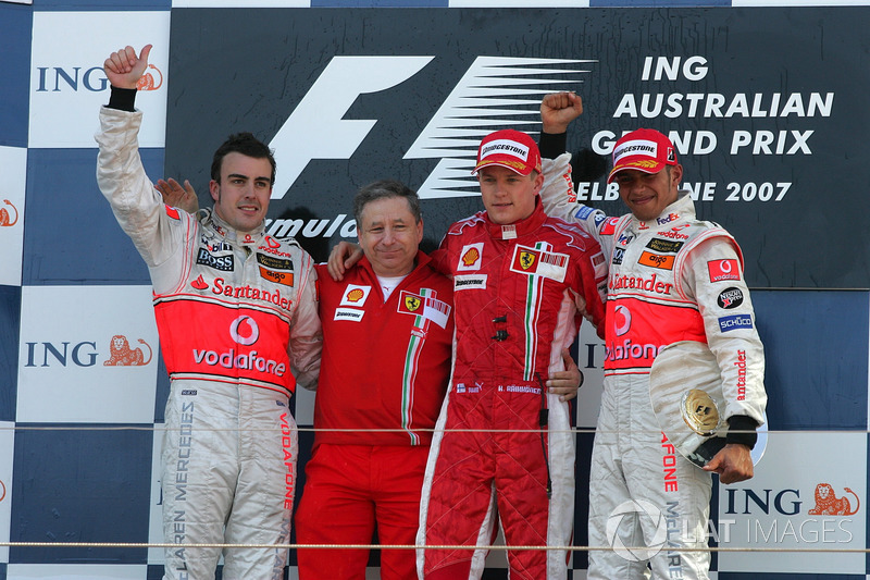 2007. Подіум: 1. Кімі Райкконен, Ferrari. 2. Фернандо Алонсо, McLaren. 3. Льюіс Хемілтон, McLaren