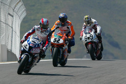 Colin Edwards, Honda; James Toseland, Ducati; Nicky Hayden, Honda
