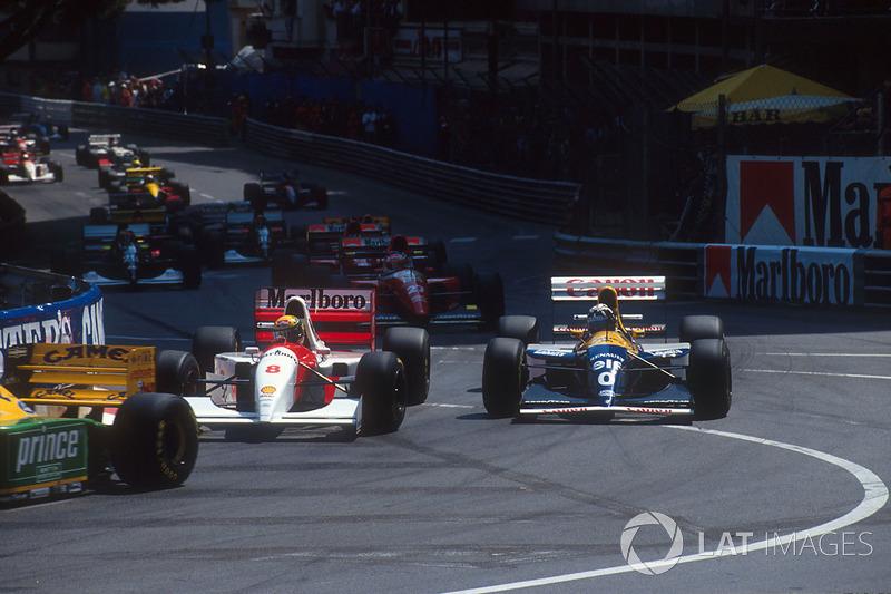Ayrton Senna, McLaren MP4/8, Damon Hill, Williams FW15C Renault