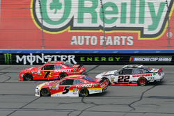 Justin Allgaier, JR Motorsports Chevrolet, Michael Annett, JR Motorsports Chevrolet and Joey Logano, Team Penske Ford