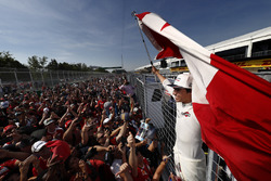 Lance Stroll, Williams, celebrates, fans after scoring his first points in F1, at his home race