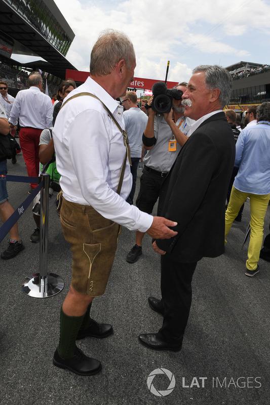 Dr Helmut Marko, Red-Bull-Motorsportberater; Chase Carey, Formel-1-Chef