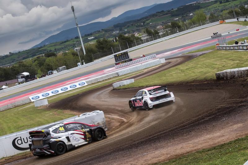 Toomas Heikkinen, EKS, Audi S1 EKS RX Quattro; Timo Scheider, MJP Racing Team Austria, Ford Fiesta ST