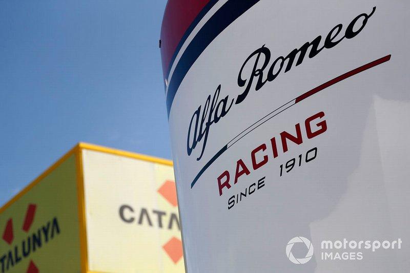 Alfa Romeo Racing logo on the motorhome