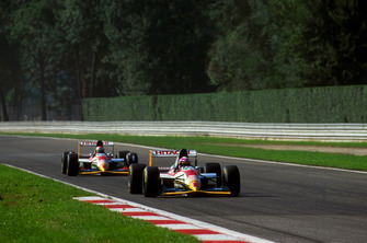 Pedro Lamy, Lotus Cosworth 107B ahead of teammate Johnny Herbert