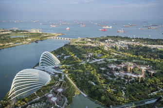 A scenic view of Singapore harbour and the Marina Bay Formula 1 street circuit