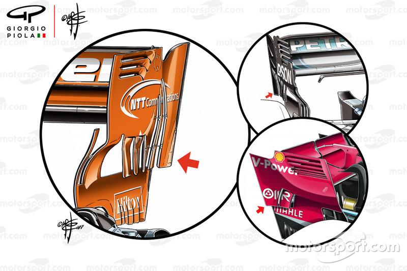 McLaren, Ferrari és Mercedes, hátsó szárnyak összevetése