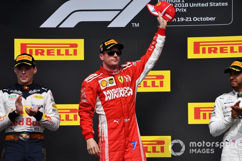 Победитель Кими Райкконен, Ferrari, второе место – Макс Ферстаппен, Red Bull Racing, третье место – Льюис Хэмилтон, Mercedes AMG F1