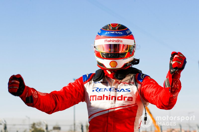 Jérôme d'Ambrosio, Mahindra Racing, celebrates victory in Parc Ferme