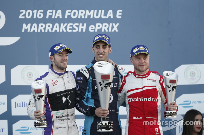 Podium: Race winner Sébastien Buemi, Renault e.Dams; second place Sam Bird, DS Virgin Racing; third