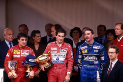 Podium: race winner Ayrton Senna, McLaren, second place Jean Alesi, Ferrari, third place Nigel Mansell, Williams, HSH Prince Rainier , HSH Princess Stephanie of Monaco, HSH Prince Albert of Monaco, Ron Dennis, McLaren