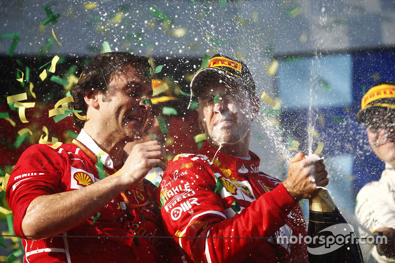 Podio: Sebastian Vettel, Ferrari, Luigi Fraboni, Ferrari