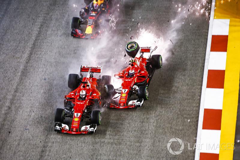 Em Cingapura, uma pista que aparentemente favorecia a Ferrari, Vettel sofreu um acidente ainda nos metros iniciais e terminou zerado. De quebra, Hamilton aproveitou a chance e venceu.
