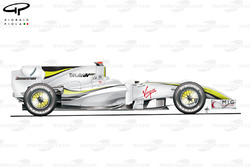 BrawnGP BGP001 side view (note shark fin)