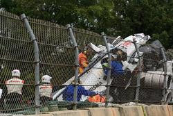 The crashed car of #52 PR1 Mathiasen Motorsports Ligier: Olivier Pla, Jose Gutierrez, Julien Canal