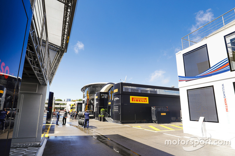 Blue sky over the paddock